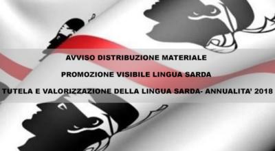 Avviso distribuzione materiale promozione visibile lingua sarda – Tutela e valorizzazione della lingua sarda – Annualità 2018
