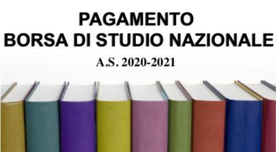 Avviso pagamento borsa di studio Nazionale A.S. 2020-2021